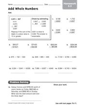 Add Whole Numbers: Homework Worksheet