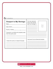 Passport to My Heritage Worksheet