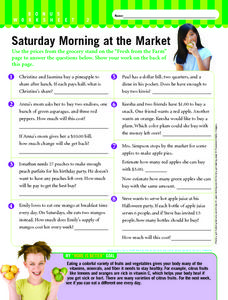 Saturday Morning at the Market Worksheet