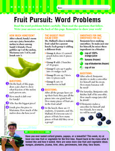 Fruit Pursuit: Word Problems Worksheet