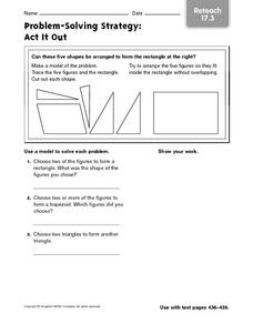 Problem-Solving Strategy: Act It Out Reteach Worksheet