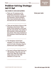 Problem-Solving Strategy: Act It Out Practice Worksheet