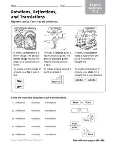 Rotations, Reflections, and Translations: English Learners Worksheet