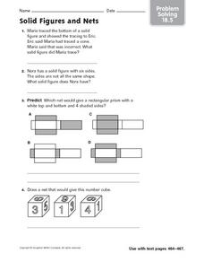 Solid Figures and Nets: Problem Solving Worksheet