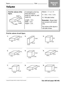 Volume - Reteach 18.6 Worksheet