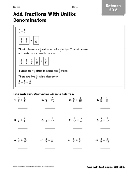 add fractions with unlike denominators reteach worksheet. Black Bedroom Furniture Sets. Home Design Ideas
