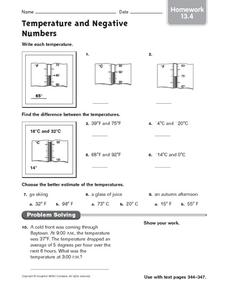 Temperature and Negative Numbers: Homework Worksheet