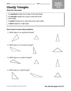 Classify Triangles - English Learners 16.5 Worksheet