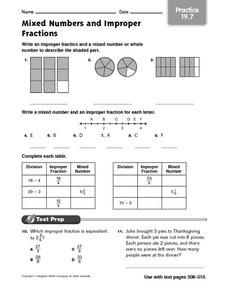 Mixed Numbers and Improper Fractions - Practice Worksheet