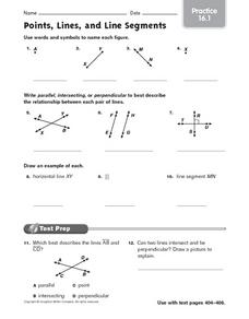 Points, Lines, and Line Segments - Practice 16.1 Worksheet