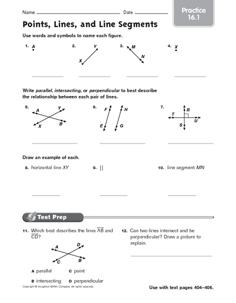 Points, Lines and Planes Worksheets