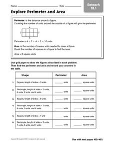 Explore Perimeter and Area - Reteach 18.1 Worksheet