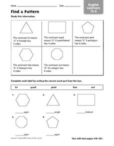Find a Pattern - EL 16.6 Worksheet