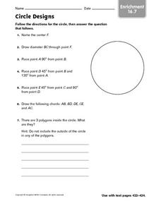 Circle Designs - Enrichment 16.7 Worksheet
