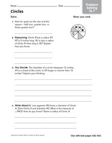 Circles - Problem Solving 16.7 Worksheet