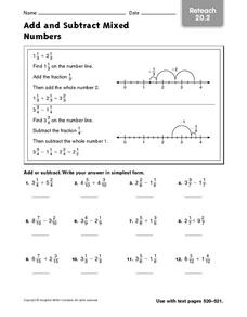 Add and Subtract Mixed Numbers - Reteach 20.2 Worksheet