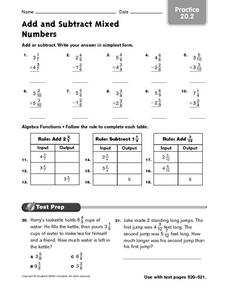 Adding and Subtracting Mixed Numbers - Practice 20.2 Worksheet