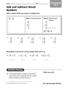 Adding and Subtracting Mixed Numbers - Homework 20.2 Worksheet