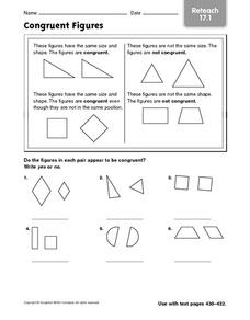 Congruent Figures - Reteach 17.16 Worksheet