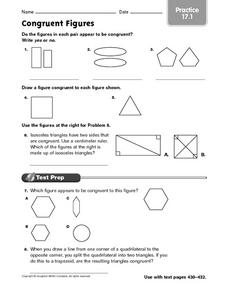 Congruent Figures - Practice 17.1 Worksheet