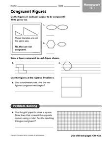 Congruent Figures - Homework 17.1 Worksheet