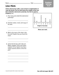 Line Plots - Problem Solving 14.4 Worksheet