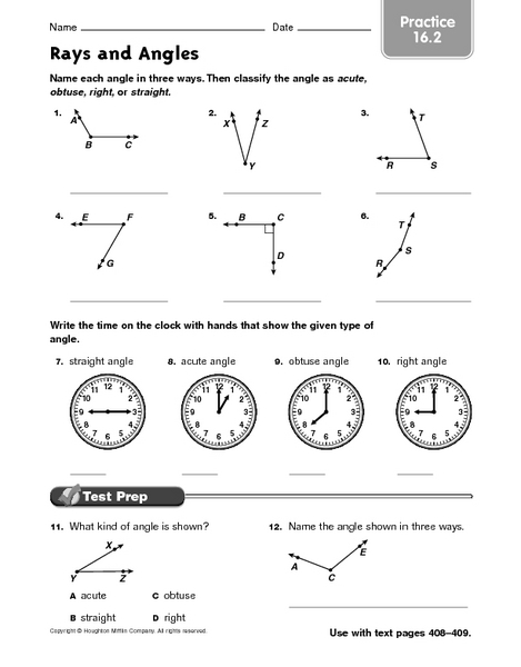 Rays and Angles - Practice 16.2 Worksheet for 4th - 6th ...