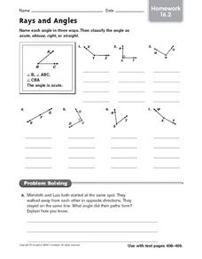 Rays and Angles - Homework 16.2 Worksheet