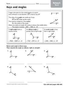 Rays and Angles: Reteach 16.2 Worksheet