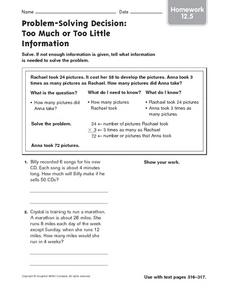 Homework: Too Much or Too Little Information Worksheet