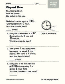 Elapsed Time 3 Worksheet