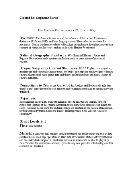 The Harlem Renaissance (1920's-1930's) Lesson Plan