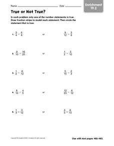 True or Not True? Number Statements Worksheet