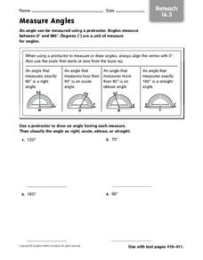 Measure Angles - Reteach 16.3 Worksheet