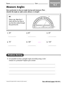 Measure Angles - Homework 16.3 Worksheet