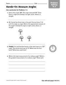 Hands-On Measure Angles - Problem Solving 16.3 Worksheet