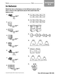 In Balance: Measurement Enrichment Activity Worksheet
