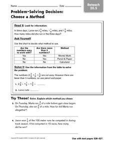 Problem Solving: Choose a Method Worksheet
