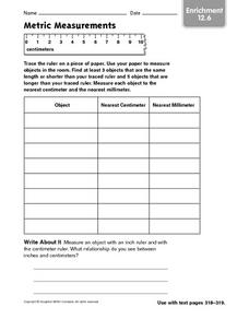 Metric Measurement Enrichment 12.6 Worksheet