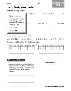 Inch, Foot, Yard, Mile - Homework 12.2 Worksheet