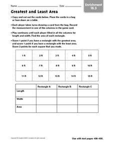 Greatest and Least Area - Enrichment 18.3 Worksheet