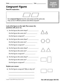 Congruent Figures - ELL 17.1 Worksheet