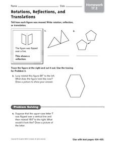 Rotations, Reflections, and Translations - Homework 17.2 Worksheet