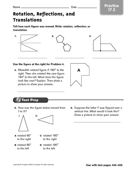 Rotation Reflections And Translations Practice 17 2 Worksheet For