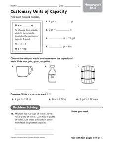 Convert Customary Units Of Capacity Lesson Plans Worksheets