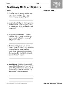 Customary Units of Capacity - Problem Solving 12.3 Worksheet