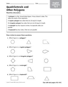 Quadrilaterals and other Polygons: ELL Math Worksheet