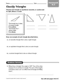 Classify Triangles: Homework Worksheet