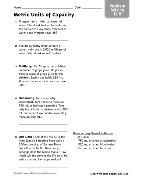 Milliliters And Liters Lesson Plans Worksheets Reviewed By Teachers
