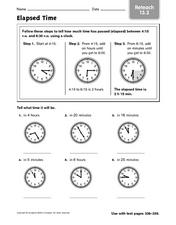Elapsed Time - Reteach 13.2 Worksheet